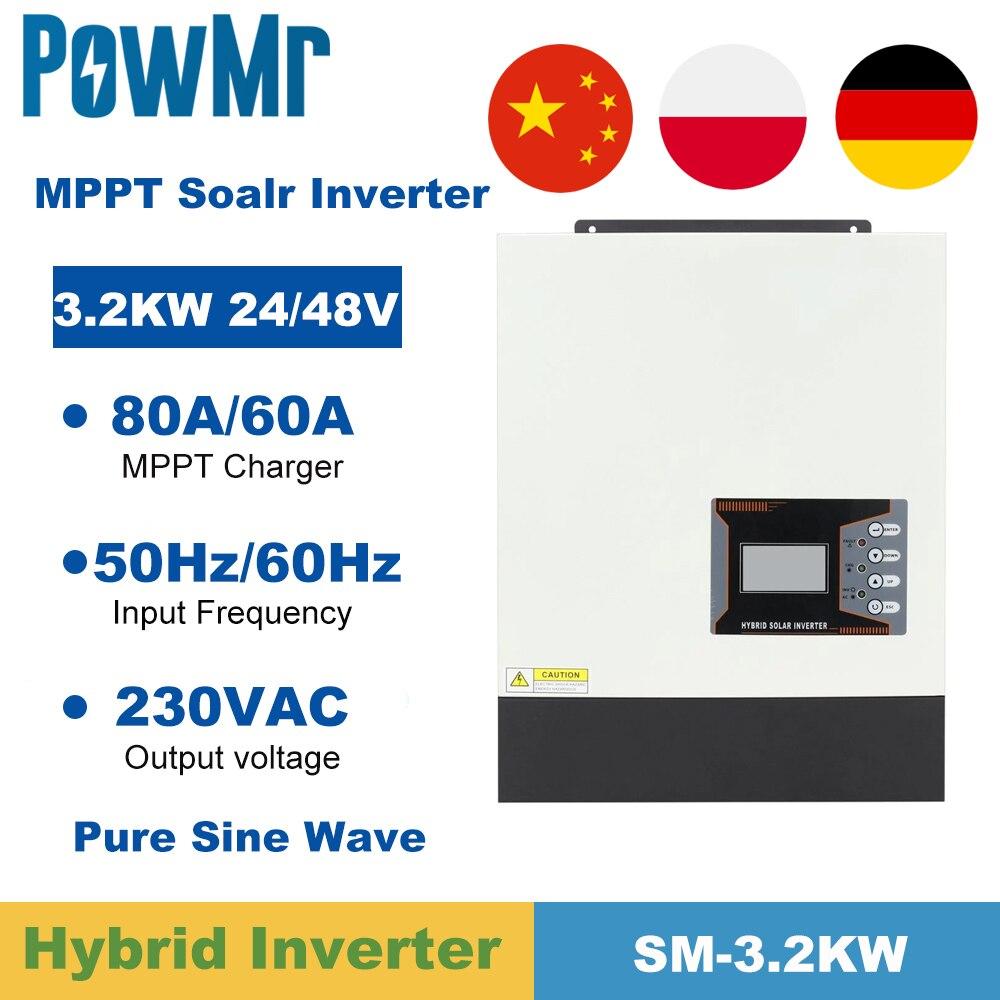 PowMr 3200 واط الهجين العاكس 24/48VDC نقية شرط موجة قبالة الشبكة الشمسية العاكس 230VAC مع 80A MPPT شاحن بطارية تحكم
