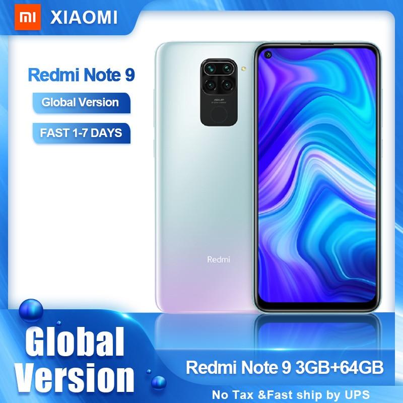 Перейти на Алиэкспресс и купить Глобальная версия Xiaomi Redmi Note 9 64GB 128GB смартфон Helio G85 48MP Quad Camera Note9 мобильные телефоны 5020 мАч 6,53 ''ЖК дисплей