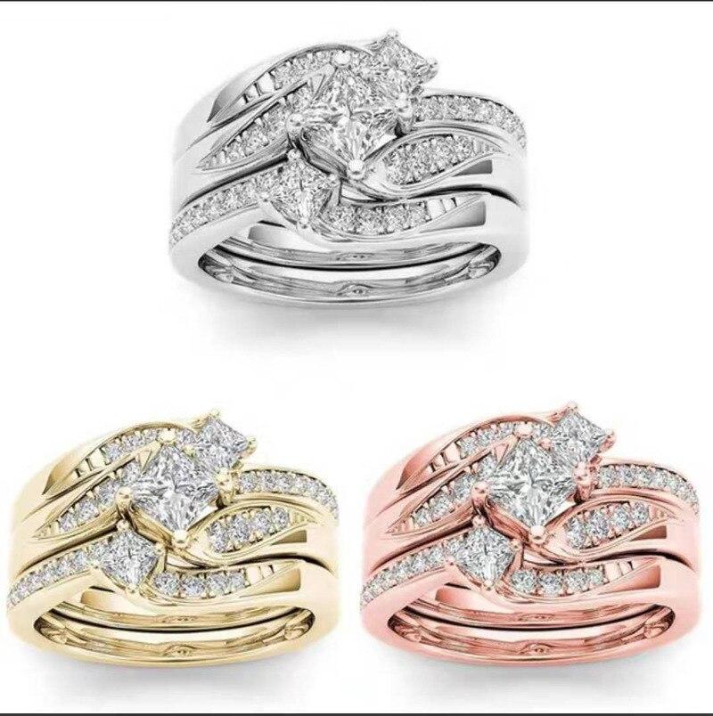 Luxo princesa 3 pçs conjunto de ouro amarelo cor cz zircon pedra anéis para mulheres nupcial aniversário noivado anel de casamento jóias