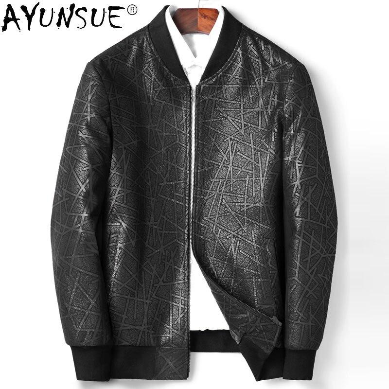 AYUNSUE-سترة جلدية للرجال ، ملابس جديدة لراكبي الدراجات النارية ، معطف مطبوع 5XL من جلد الغنم ، Ropa Hombre LXR369 ، 2020