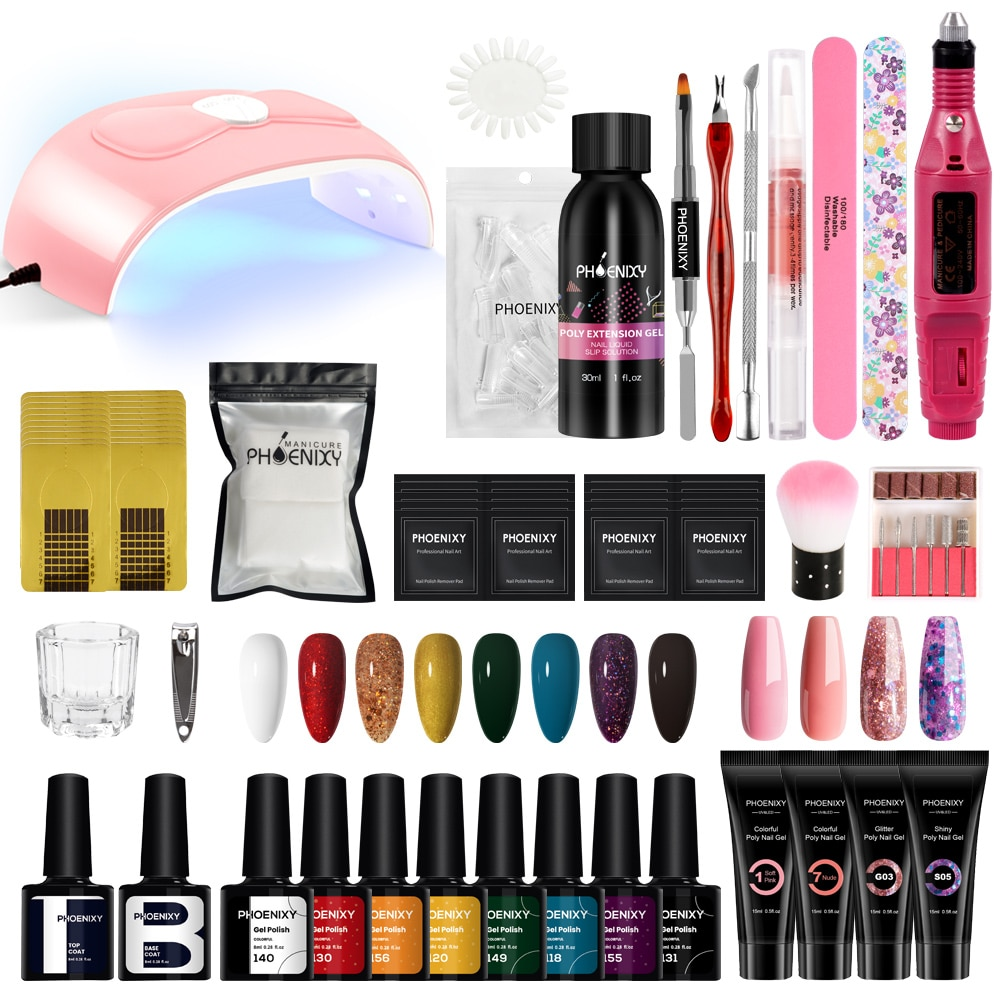 Poly Nail Gel Extension Nail Kit All For 8PCS Manicure Gel Set Acrylic Solution Water Builder Gel Po