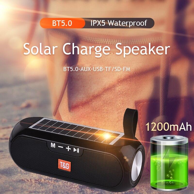 Altavoz Bluetooth con carga Solar, columna portátil, inalámbrico, estéreo, caja de música,...