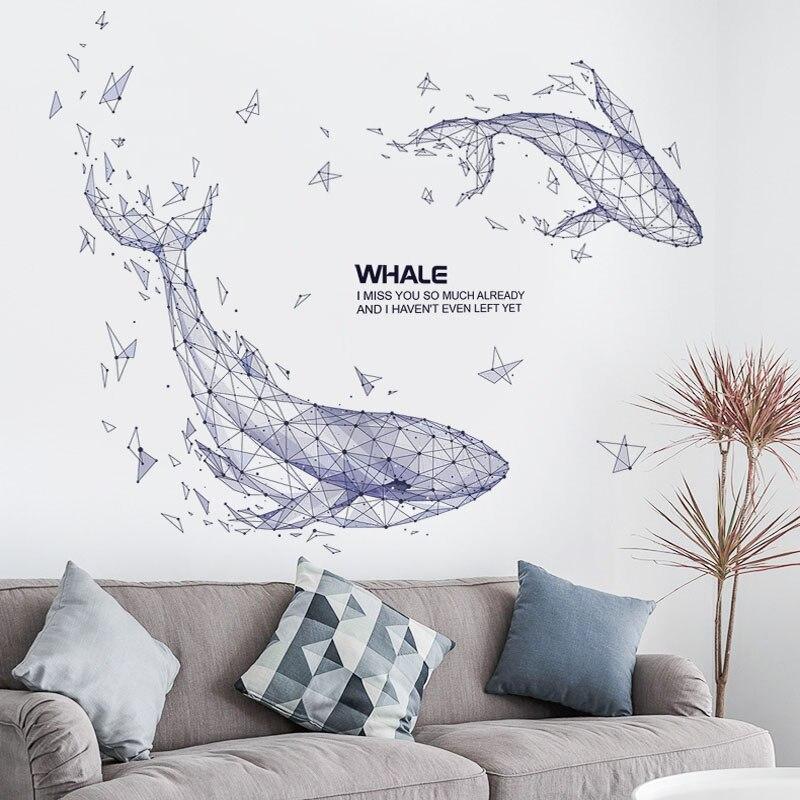 Kreative Paar Geometrische Whale Aufkleber für Wohnzimmer Wand Hintergrund Home Decor Decals DIY Vinyl Wandbild kunst PVC Poster