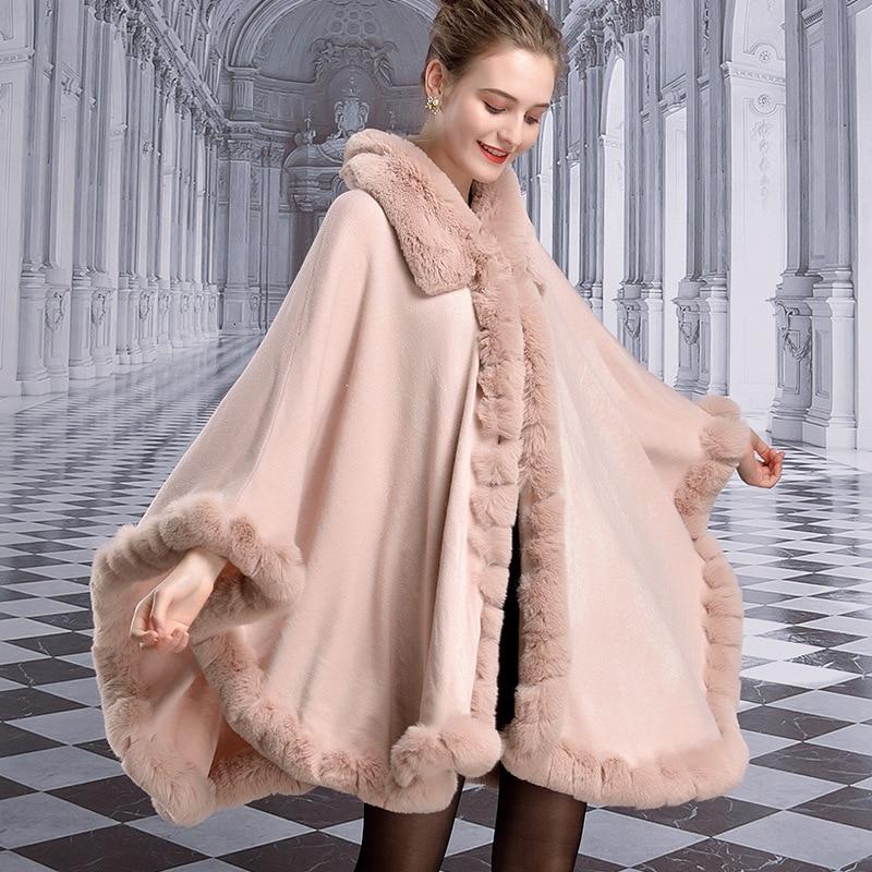 Capa de inverno feminino pele de coelho falso grande turn-down collar xale cape plus size solto quente grosso cardigan poncho casaco de capa
