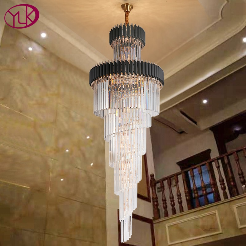 Luxury modern crystal chandelier for staircase Long loft black cristal light fixture villa lobby living room decor hang lighting
