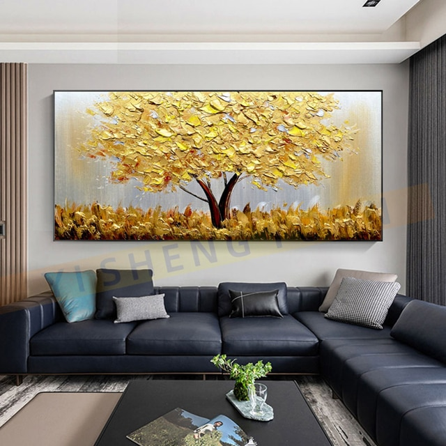 100% New Handmade Large Gold money Tree Painting Modern landscape Oil Painting On Canvas Wall Art Picture For Home Office Decor 2