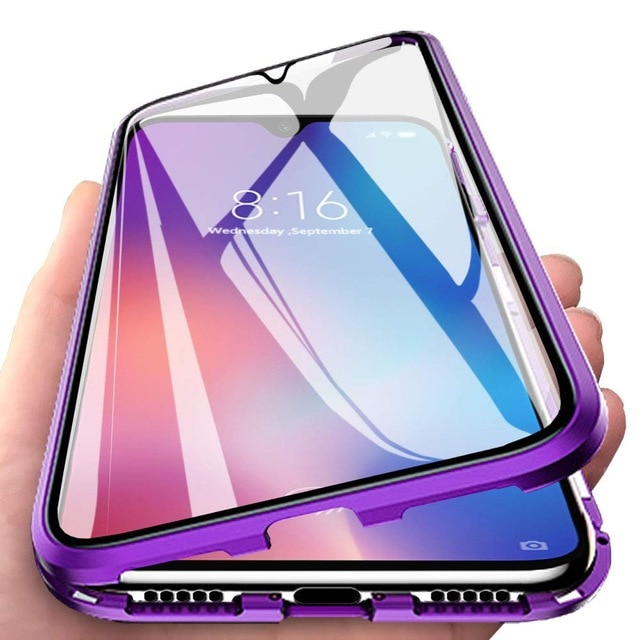 Magnetic Metal Bumper Case For OPPO A91 A31 A5 2020 Realme C3 C11 C15 6 Pro Cover Double-Sided Glass