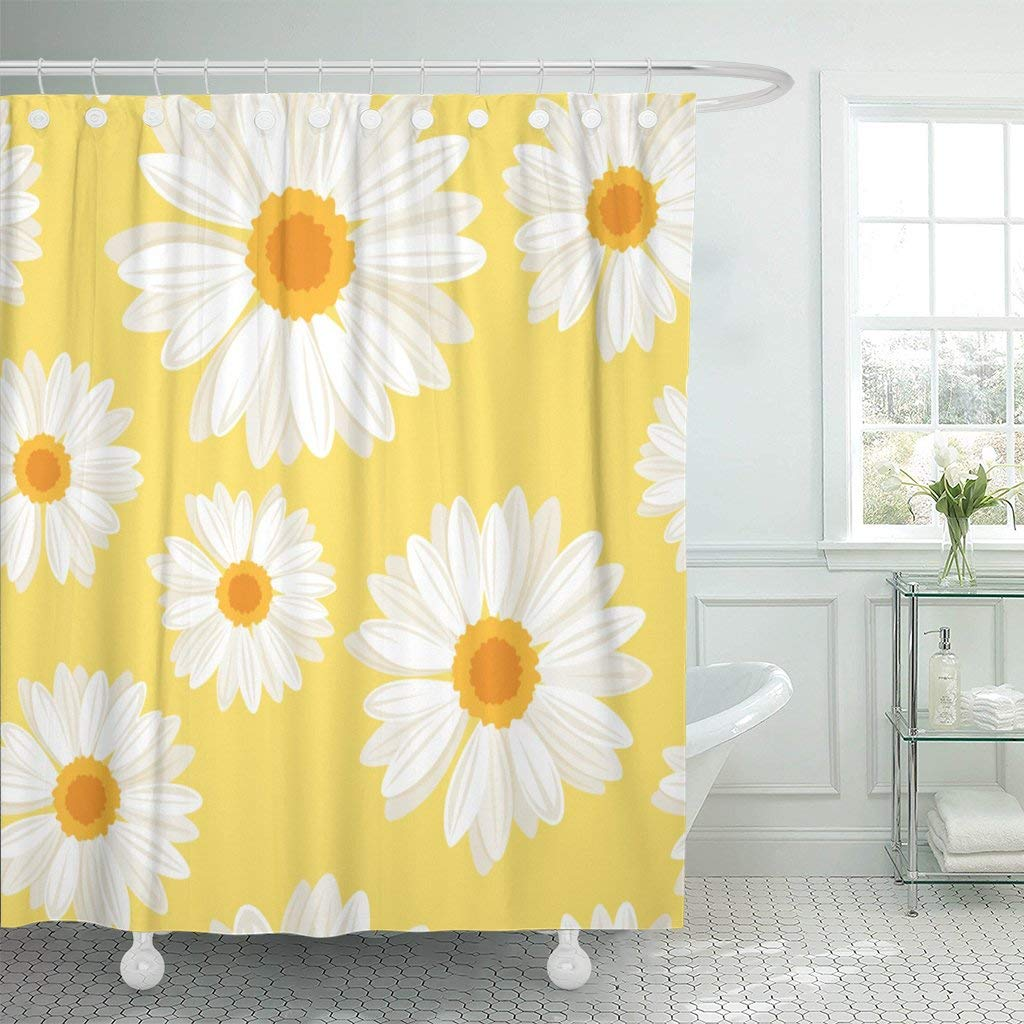 Patrón de naranja margaritas flores en Amarillo Blanco Manzanilla Floral Cortina de ducha impermeable de poliéster tela 60x72 pulgadas