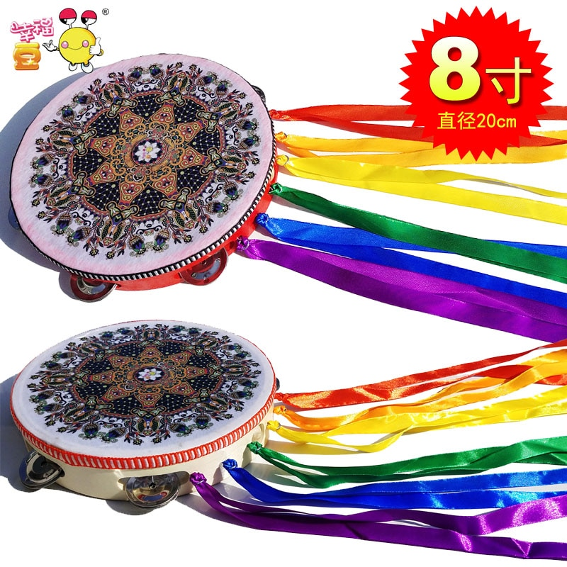 Ethnic Dance Ribbon Tambourine National Style Ribbon Tabor Chinese Elements Program Props Square Dance enlarge