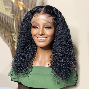 Short Bob Kinky curly wig Heat Resistant Synthetic 13*4 Lace Front Wigs For Women  with Baby hair preplucked Lace Wigs