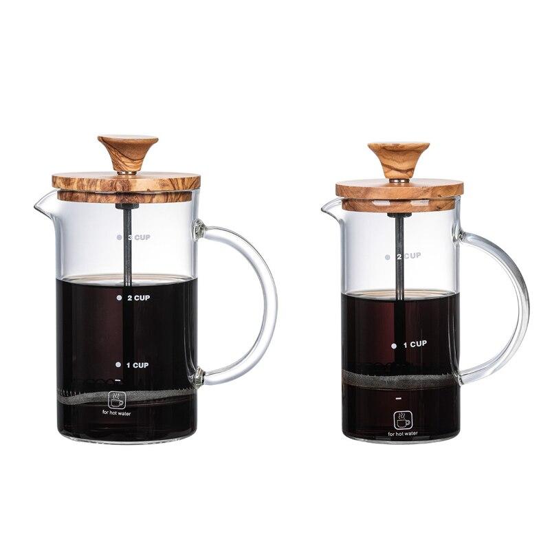 صانع القهوة الفرنسية الصحافة الزجاج اسبريسو ماكينة القهوة القهوة ماكينة إعداد الشاي وعاء القهوة سعة كبيرة الحاويات