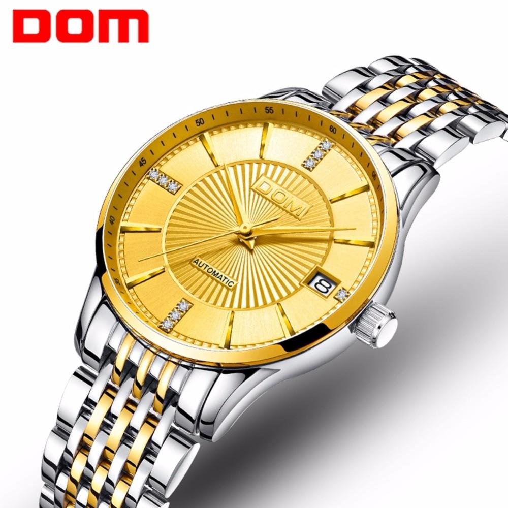 Relojes mecánicos mew DOM para mujer, reloj de oro de acero inoxidable de moda, reloj automático de negocios femenino impermeable de lujo de marca