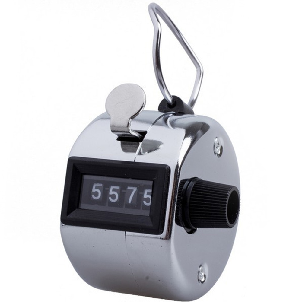 Esporte de 4 dígitos com número de volta de metal portátil manual preciso clicker handheld mini contador de contagem