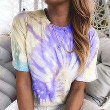 WENYUJH Women Fashion Tie Dye Print Blouse Shirts Sexy V Neck Halter Short Sleeve Shirt Spring Summer New Ladies Tops Blusa
