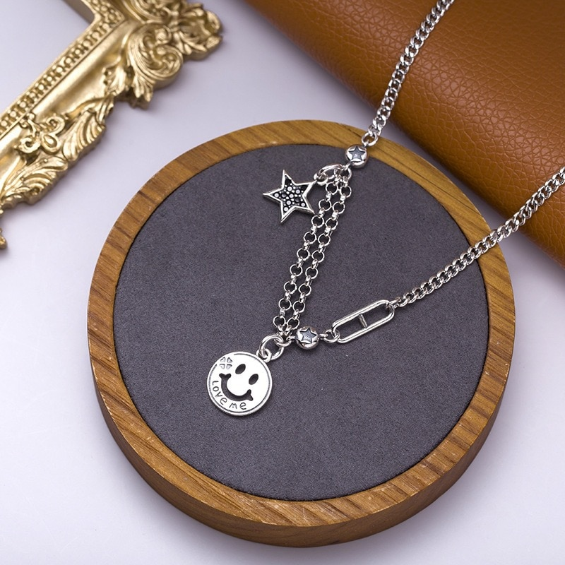 New Arrival Smile Face Star Crystal 925 Sterling Silver Ladies Pendant Necklace Promotion Jewelry Women Birthday Gift Hot Sell