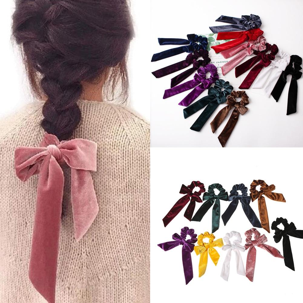 Señoras suave terciopelo pelo Scrunchie cinta Chicas Ponytail titular Bow Hair Ties bandas elásticas pelo sombreros elegantes accesorios rojo
