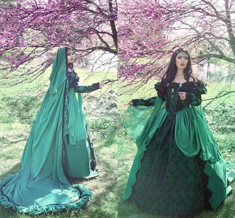 فستان زفاف أخضر عتيق من القرون الوسطى ، أزياء عصر النهضة ، فستان زفاف قوطي مع غطاء ، أكمام طويلة ، دانتيل