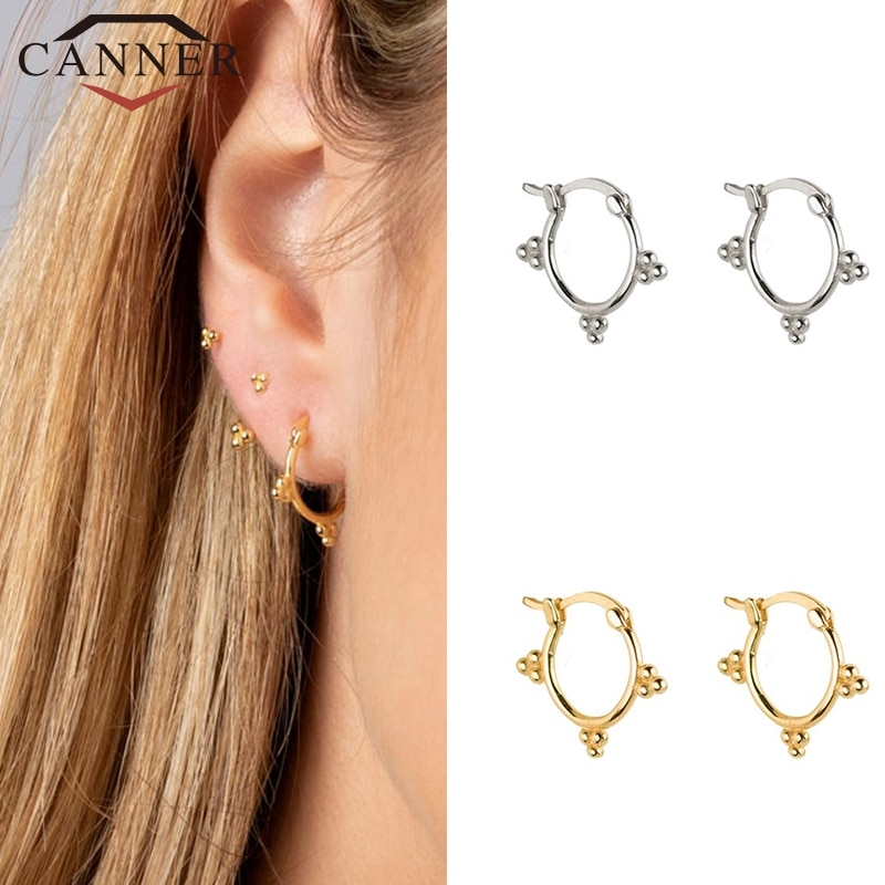 Geométrico Simple color oro y plata serpiente/cadena/Spike pequeño aro pendientes para las mujeres esterlina 925 Plata pequeña pendientes Círculo