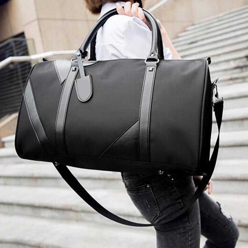 Unisex solid color handbag travel storage bag fitness luggage handbag travel camping picnic large ca