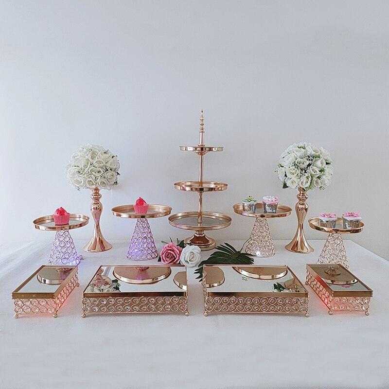 5-15 قطعة الزفاف الكريستال المعادن متعدد الطبقات كعكة حامل مجموعة أرفف مهرجان حفلة صينية العرض