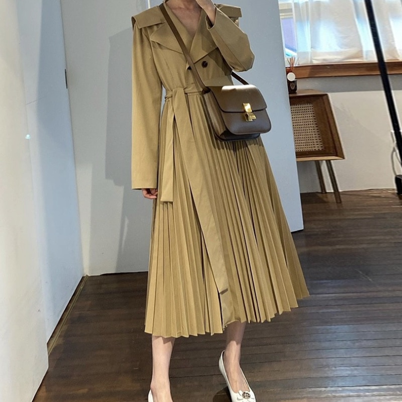 Korean Coat Windbreaker Chic Autumn French Style Large Lapel Double Row Buckle Strap Waist Closing S