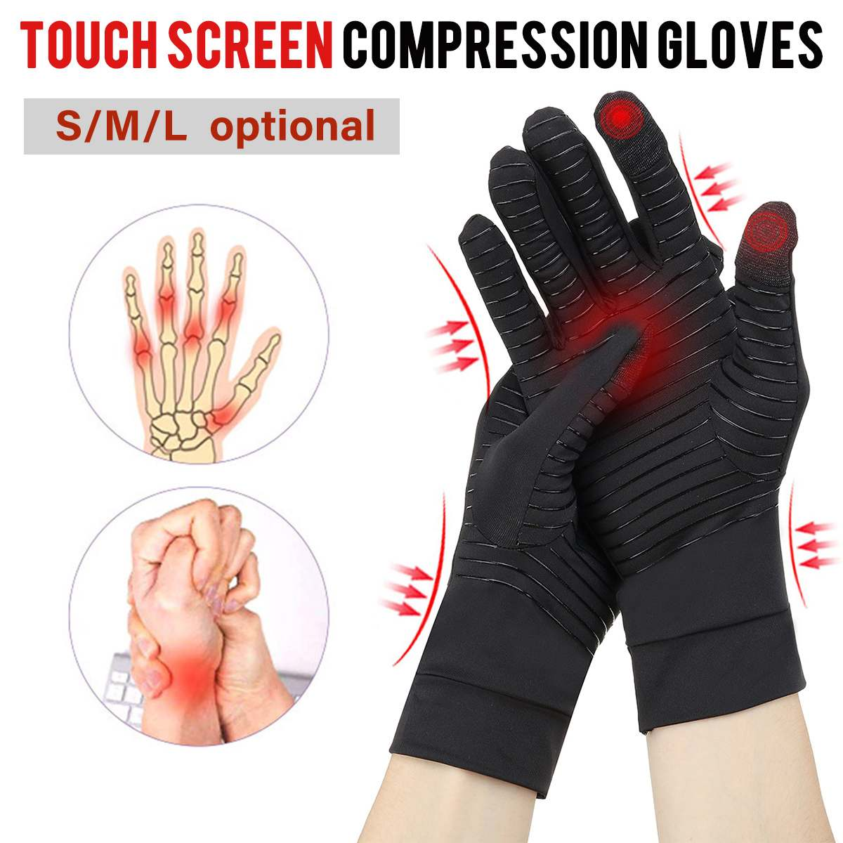 Womens Mens Copper Fiber Therapy Compression Gloves Hand Arthritis Joint Pain Relief Full Finger Therapy Gloves Touch Screen