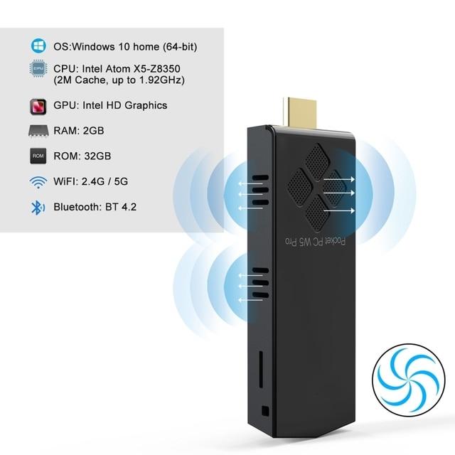 2020 New W5 Pro Mini Computer Stick Windowns 10 Mini PC I-ntel A-tom Z8350 4GB DDR 64GB eMMC Support 4K 2.4G/5.8G WiFi CC BT 4.2 2