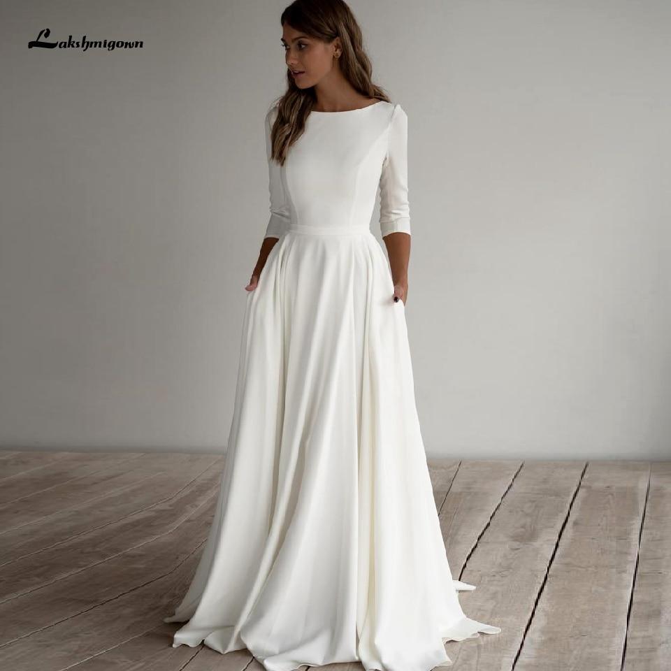 فستان زفاف ساتان بسيط A-Line 2020 للنساء ، فستان زفاف أنيق بأكمام 3/4 ، فستان زفاف للشاطئ بجيوب