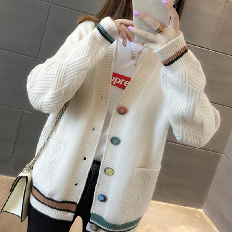 Zoki Fashion V Neck Women Cardigan Sweater Autumn Long Sleeve Single Breasted Knit Coat Casual Korean Striped Pocket Sweater