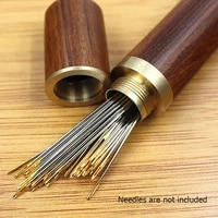 leather mending embroidery storage tube hand sewing needles case wooden box sewing needles holder needles container