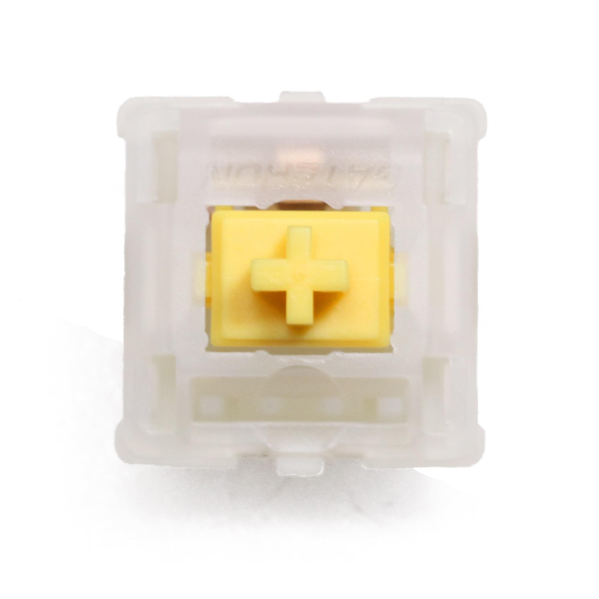 Interruptor linear da haste do rgb 63g mx dos extras 5pin do interruptor do amarelo leitoso do tampão de gateron para o teclado mecânico 50m com a caixa base acrílica