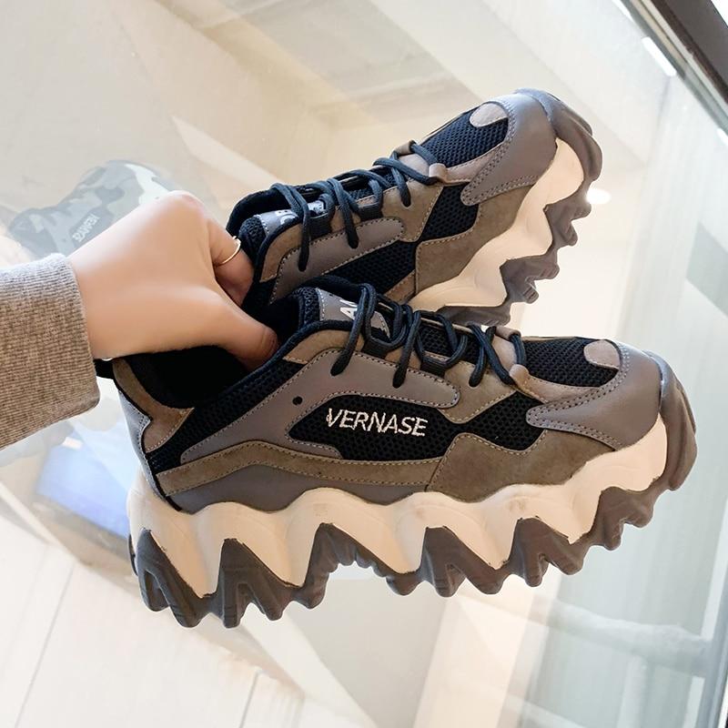 Frauen Chunky Turnschuhe Mode Plattform Damen Casual Schuhe Mesh Spitze Bis INS Marke Frau Vulkanisierte Schuhe Walking 2020 Frühling