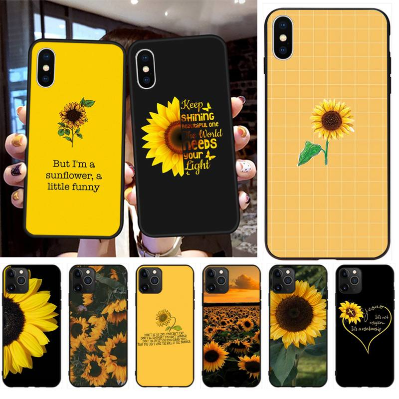 Hermosa flor amarilla girasol foto personalizada funda de teléfono suave para iPhone 11 pro XS MAX 8 7 6 6S Plus X 5S SE 2020 XR funda