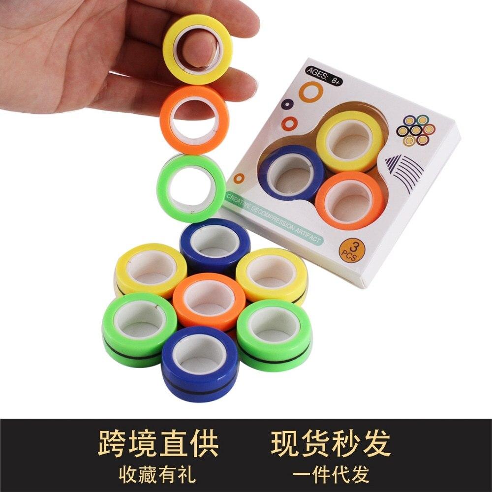Anti-Stress Magnetic Rings Fidget Unzip Toy Magic Ring Props Tools Children Magnetic Ring Finger Spinner Ring Adult Toys pinwheel shape fidget spinner adjustable finger ring