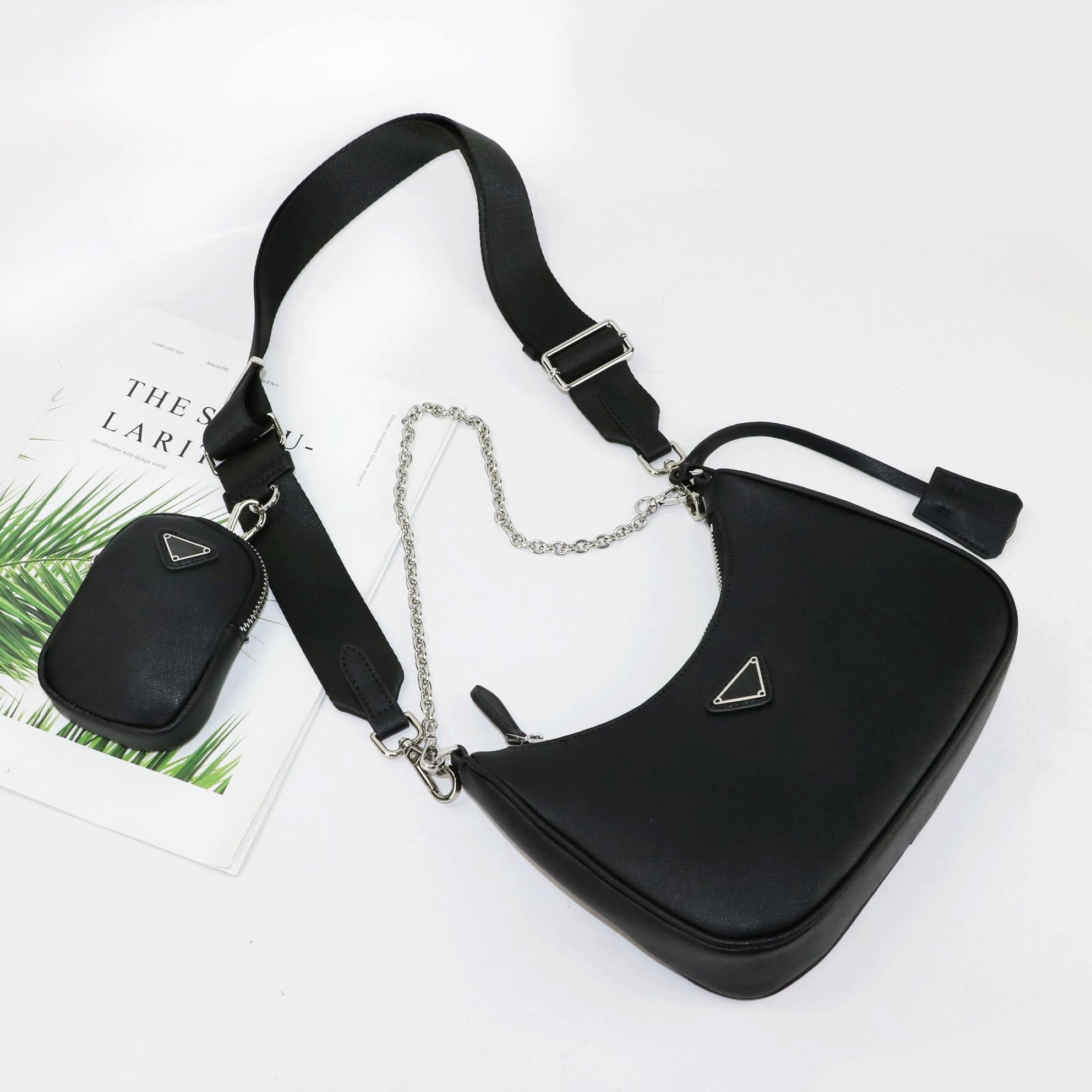 Retro Handbag Genuine Saffiano Leather Bag 3 in 1 Hobo bag with Small Pouch Women Hobo Shoulder Bag Fashion Ladies Bag