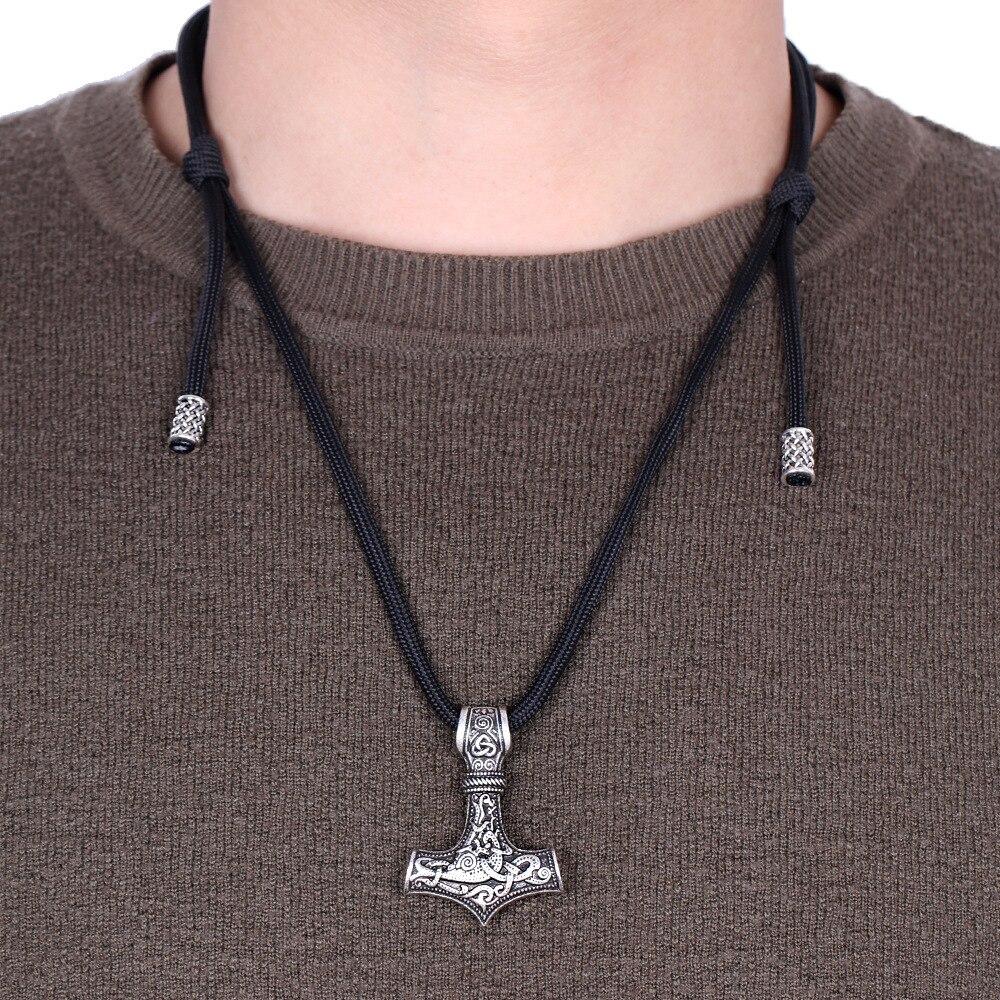 Colgante nórdico Thor Hammer Mjolnir, joyería vikinga, Talismán, cadena de cuerda escandinava, collar masculino, Dropshipping