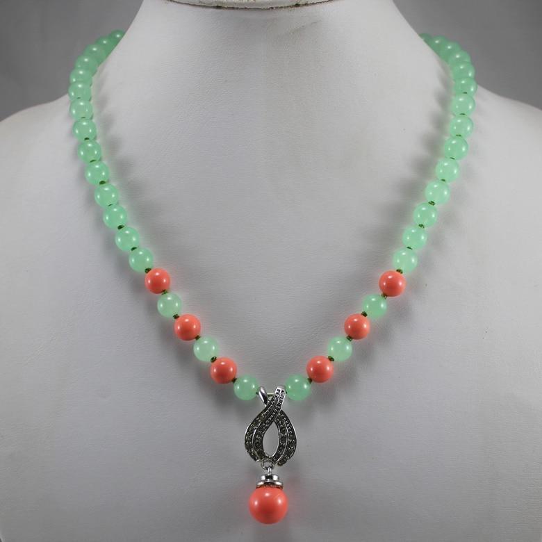 Simple 8mm verde jade natural mezclado naranja perla collar + 14mm Concha perla colgante regalo envío gratis