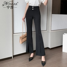 Spring 2021 New Fashion All-Matching Solid Color High-Waisted Boot-Cut Pants Slim Slimming Casual Je