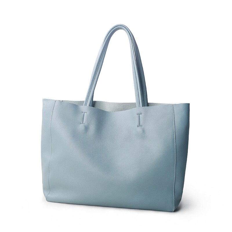 Women Luxury Bag Casual Tote Female Light Blue Fashion Shoulder Handbag Lady Cowhide Genuine Leather Shoulder Shopping Bags