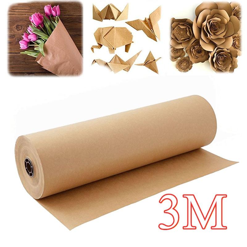 30 м, рулон крафт-бумаги, гладкая коричневая переработанная бумага для детей, семейная подарочная упаковка «сделай сам», упаковка для посыло...