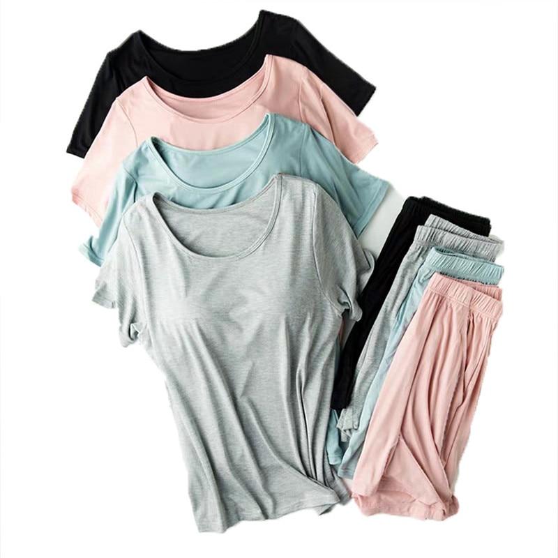 2 Piece Set Seamless Chest Pad Modal Home Clothes for Women Homewear Atoff Home Summer Sleepwear Modal Female Pajamas