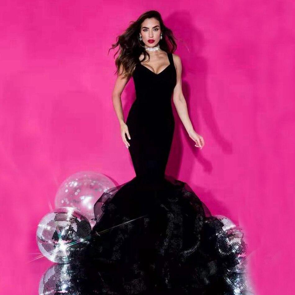 LEGER BABE Sexy V cuello negro desnudo oro Bridemaid vestido sin mangas con volantes sirena Vestidos de fiesta de navidad
