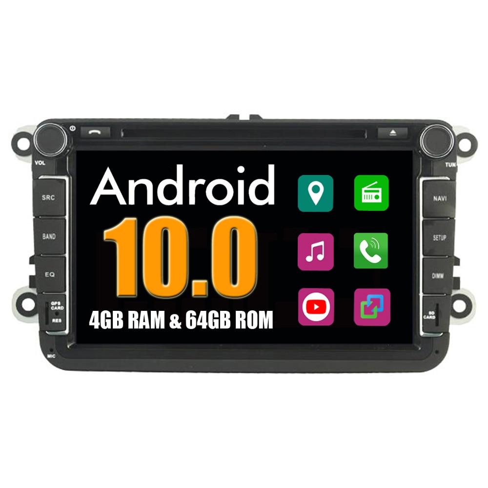 4g ram + 64g rom reprodutor de multimídia do carro para vw golf mk6 2008-2012 android 10 tela de toque gps navegação rádio estéreo dvd