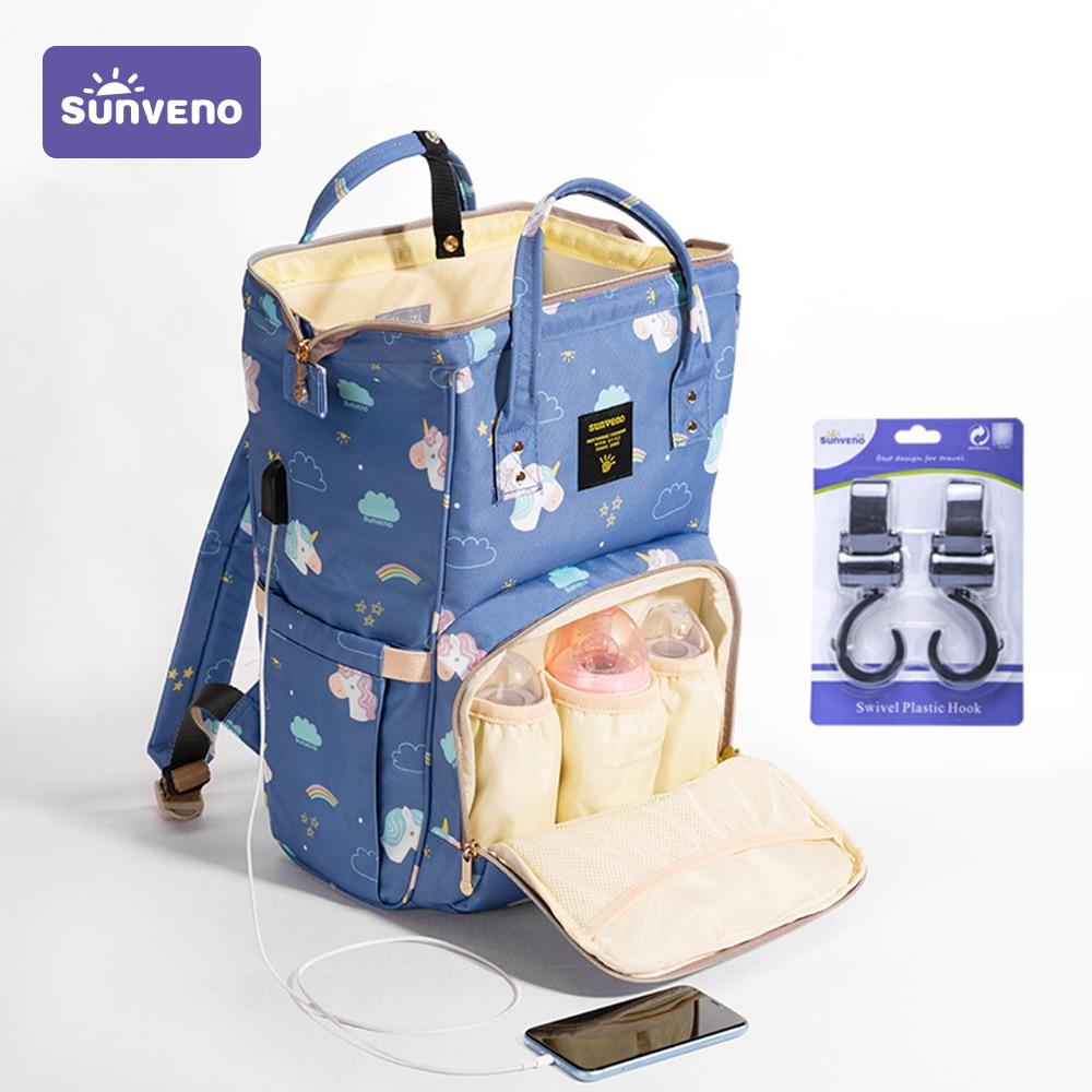 Sunveno Mummy Maternity Diaper Nappy Bag Organize Large Capacity Baby Bag Backpack Nursing Bag for M
