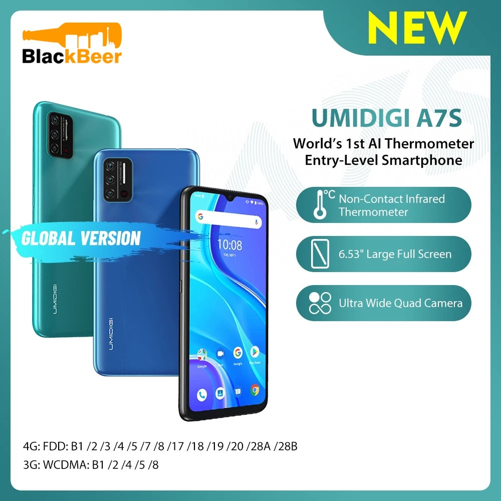 Перейти на Алиэкспресс и купить UMIDIGI A7S 6,53 дюйм4G смартфон 2G + 32GB четырехъядерный мобильный телефон Android 10 глобальная версия мобильного телефона инфракрасный датчик температуры