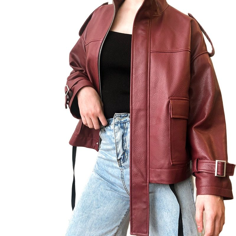women high quality sheepskin jacket genuine leather fashion red coat stand-up