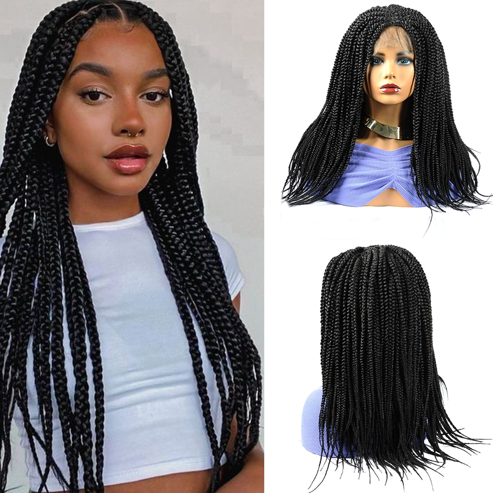 18Inch Synthetic Box Braids Wig 4X4 Lace Front with Baby Hair Ombre Brown Burgundy Braided Frontal Wigs for Black Women