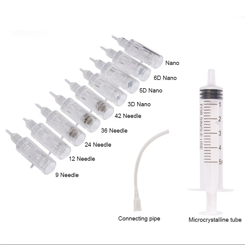 10/30PCS Microneedle Cartridges And Syringe Tube Screw Suits For 3 in 1 Mini Auto Derma Stamp Hydra Gun Mesotherapy Injector enlarge