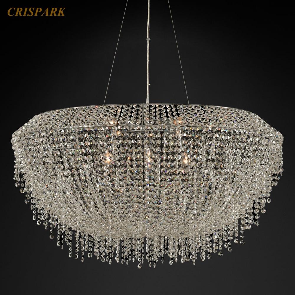 Candelabros de cristal Retro iluminación LED borla colgante de cristal lámpara colgante hemisferio lámpara de araña