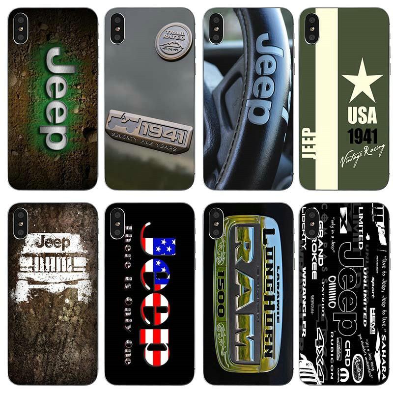 Fundas de teléfono móvil de silicona TPU suave para iphone 7 6S 6 8 Plus 5 5S 5C SE X XR XS Max 4 4S, carcasa, Logo deportivo a la moda para Jeep
